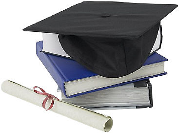Graduation cap diploma and books uid for Interieur opleidingen hbo